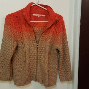 Rachel Roy tan orange red cardigan